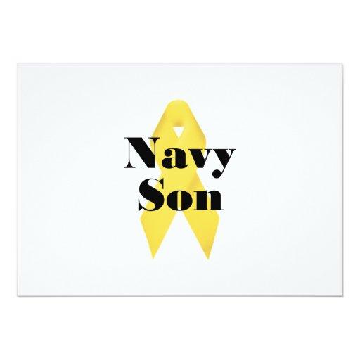 """Cinta del hijo de la marina de guerra invitación 5"""" x 7"""""""