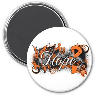 Cinta del jardín de la esperanza de la esclerosis  imán redondo 7 cm