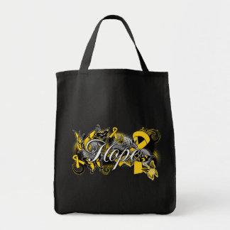 Cinta del jardín de la esperanza del cáncer de la  bolsa lienzo
