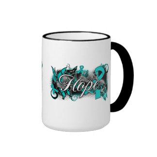 Cinta del jardín del cáncer ovárico tazas de café