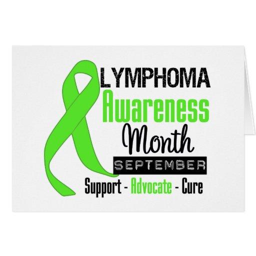 Cinta del mes de la conciencia del linfoma tarjeta de felicitación