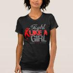 Cinta del movimiento - lucha como un chica camisetas