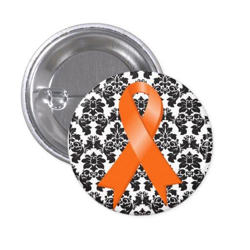 Cinta del naranja del damasco de la leucemia pins