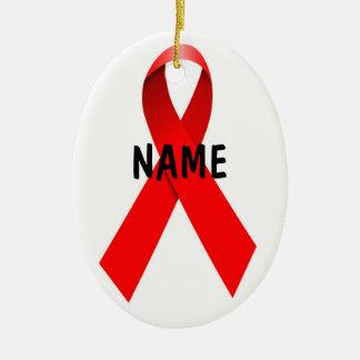 Cinta del navidad del SIDA del VIH Adorno Ovalado De Cerámica