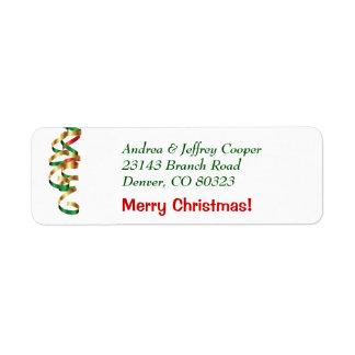 Cinta del navidad etiquetas de remite