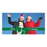 Cinta del navidad y vidrio verde del arco tarjetas fotograficas