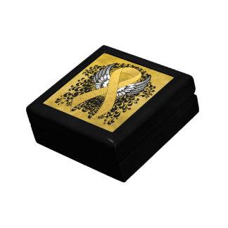 Cinta del oro con las alas joyero cuadrado pequeño