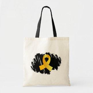 Cinta del oro del cáncer de la niñez con garabato bolsa de mano