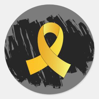 Cinta del oro del cáncer de la niñez con garabato etiqueta redonda