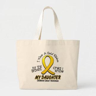 Cinta del oro del cáncer de la niñez para mi hija bolsas de mano