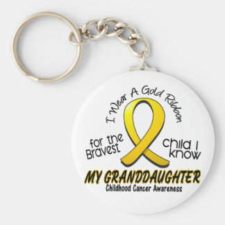 Cinta del oro del cáncer de la niñez para mi nieta llavero redondo tipo pin