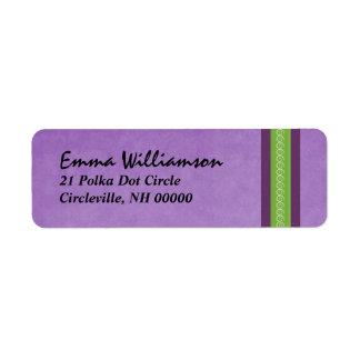 Cinta del remolino de la púrpura y del verde etiqueta de remite