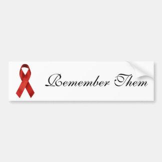Cinta del rojo de HIV/AIDS Pegatina De Parachoque