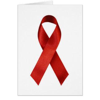 Cinta del rojo de la conciencia de HIV/AIDS Tarjeta De Felicitación