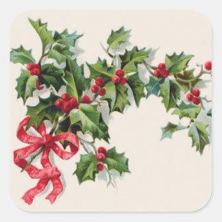 Cinta del rojo del Winterberry del acebo Pegatina Cuadrada