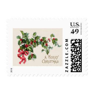 Cinta del rojo del Winterberry del acebo Timbres Postales
