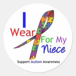 Cinta del rompecabezas del desgaste del autismo I Etiqueta Redonda
