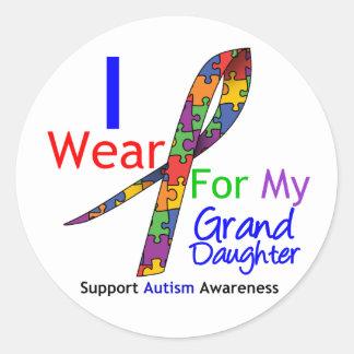Cinta del rompecabezas del desgaste del autismo I Etiquetas Redondas