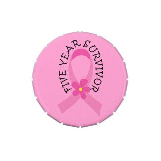 Cinta del rosa del cáncer de pecho superviviente frascos de dulces