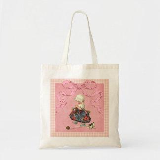 Cinta del rosa del chica de la moda del vintage bolsas lienzo