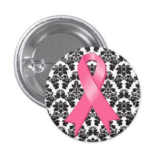 Cinta del rosa del damasco del cáncer de pecho pin redondo 2,5 cm