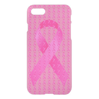 Cinta del rosa del mes de la conciencia del cáncer funda para iPhone 7