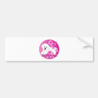 Cinta del rosa del perro de Bichon Frise Pegatina Para Auto