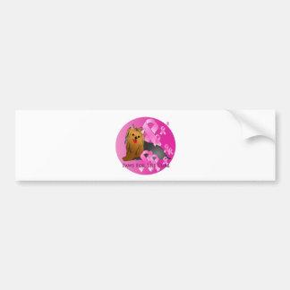 Cinta del rosa del perro de Yorkshire Terrier Pegatina Para Auto