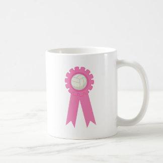 Cinta del rosa del premio del voleibol tazas de café