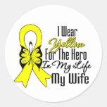 Cinta del sarcoma mi héroe mi esposa etiquetas redondas