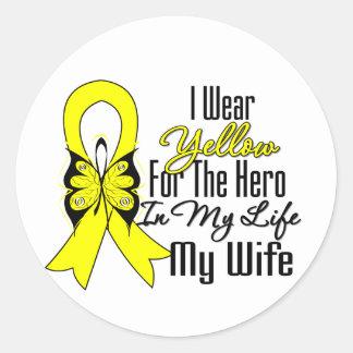 Cinta del sarcoma mi héroe mi esposa pegatina redonda