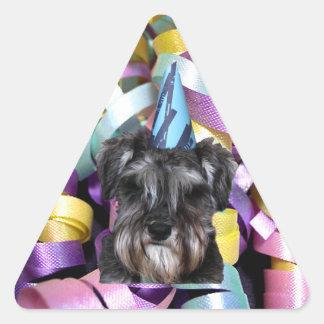 Cinta del Schnauzer de la fiesta de cumpleaños Pegatina Triangular