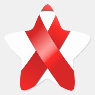 Cinta del SIDA Pegatina En Forma De Estrella