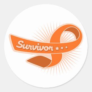 Cinta del superviviente de la esclerosis múltiple etiqueta redonda