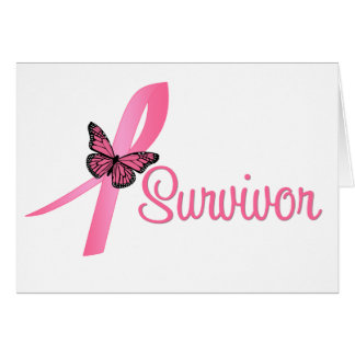 Cinta del superviviente del cáncer de pecho tarjeta de felicitación