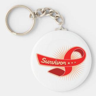 Cinta del superviviente del cáncer de sangre llavero redondo tipo pin