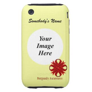 Cinta del trébol de Borgoña de Kenneth Yoncich Funda Resistente Para iPhone 3