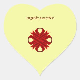 Cinta del trébol de Borgoña Pegatina En Forma De Corazón