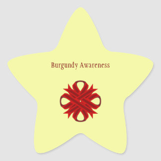 Cinta del trébol de Borgoña Pegatina En Forma De Estrella