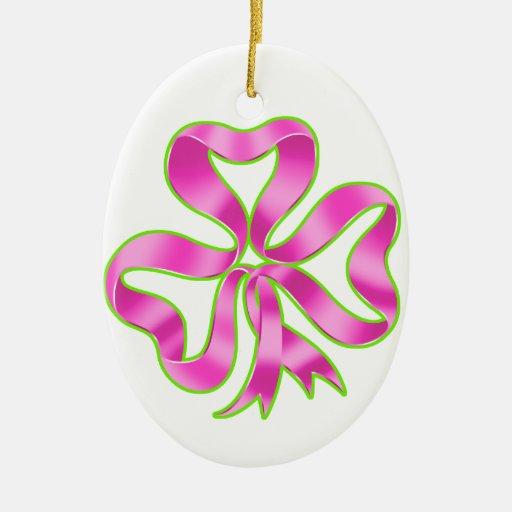 Cinta del trébol del cáncer de pecho adorno navideño ovalado de cerámica