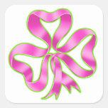 Cinta del trébol del cáncer de pecho calcomanías cuadradases