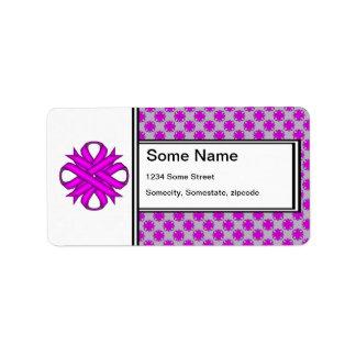 Cinta del trébol púrpura etiqueta de dirección