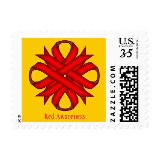 Cinta del trébol rojo sello postal