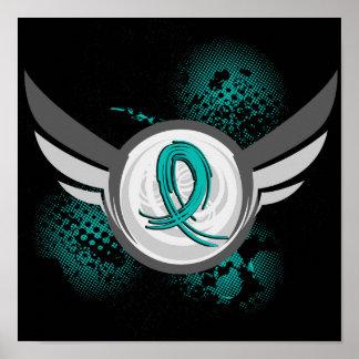 Cinta del trullo y cáncer ovárico de las alas póster