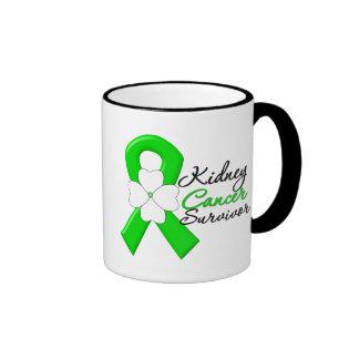 Cinta del verde de la flor del superviviente del c tazas de café