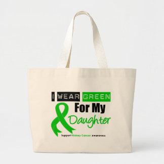 Cinta del verde del cáncer del riñón para mi hija bolsa tela grande