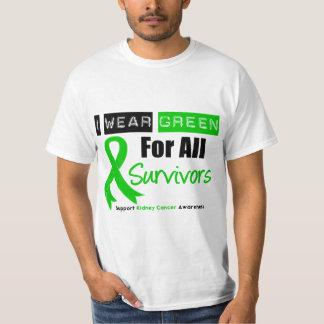 Cinta del verde del cáncer del riñón para todos remeras