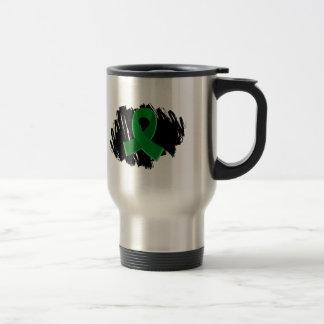 Cinta del verde esmeralda del cáncer de hígado con taza térmica