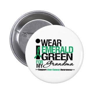Cinta del verde esmeralda del cáncer de hígado par pin redondo de 2 pulgadas