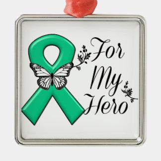 Cinta del verde esmeralda para mi héroe adorno navideño cuadrado de metal